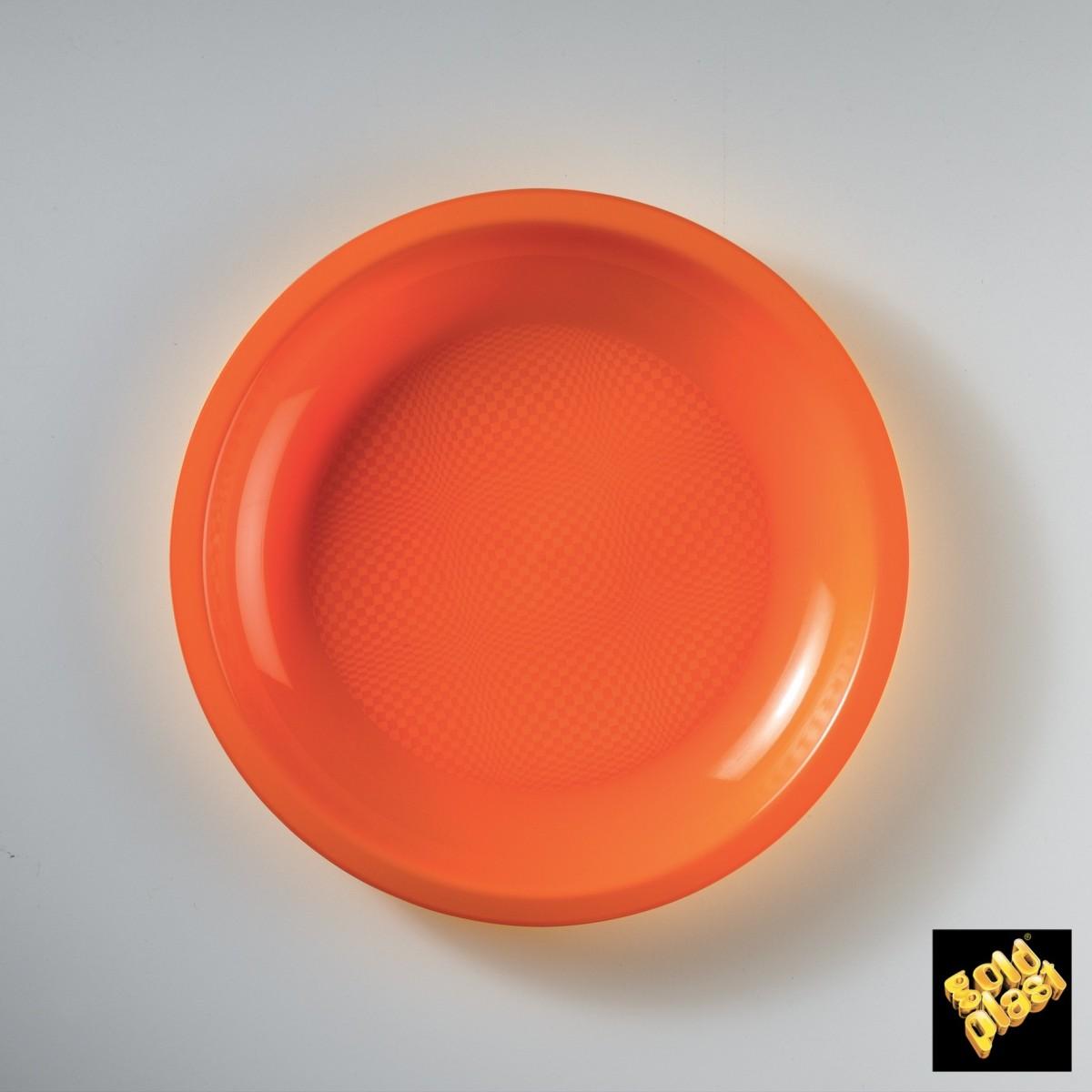 Piatto da Dessert in Plastica Colorato Diam. Cm.18,5 Confezione 50 Pezzi Arancio