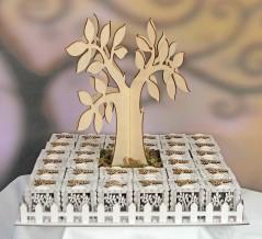 Set Albero della Vita con 34 scatoline in legno e fiori
