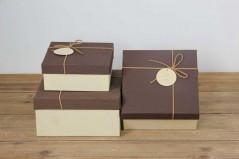 Set 3 Scatole rettangolari con coperchio marrone
