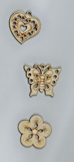 Decorazione per Bomboniera Cuore in legno cm 4 pz.24
