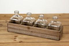 Espositore in Legno con 4 Bottiglie 44 x 11,5 x 17