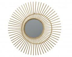 Specchio con decoro in rattan D 60 cm