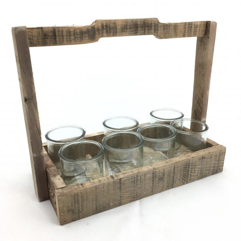 Vassoio in Legno con 6 bicchieri cm 27 x 18,5 x 23