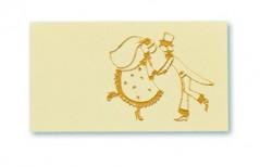 Etichette con Sposi stampa in Oro blister pz.100 avorio