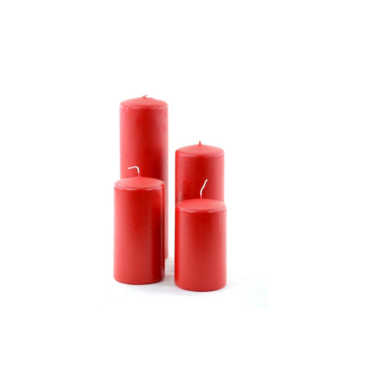 4 Moccoli Laccati da Cm 9-11-14-19 Dm6 Rosso