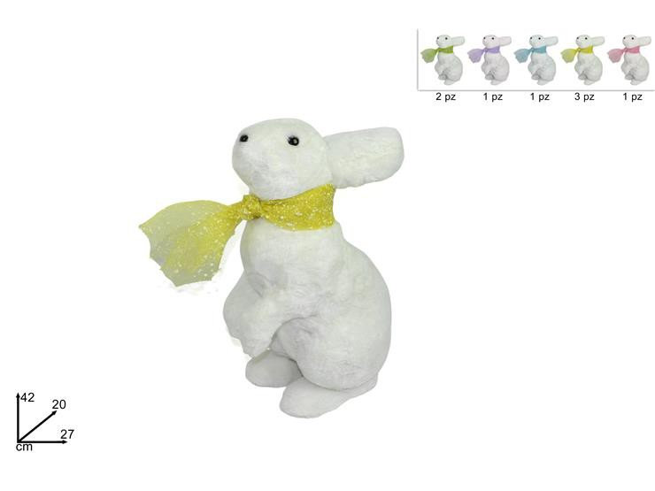 Coniglio con sciarpa colori assortiti