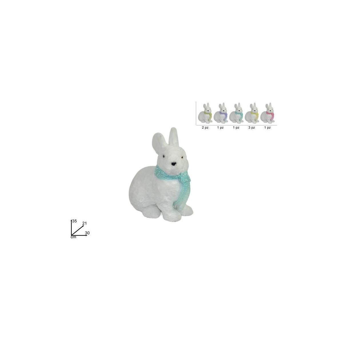 Coniglio con sciarpa colori assortiti cm 35