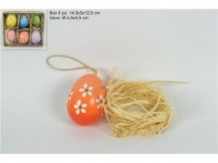 Set Uova appendini con fiori e raffia pz.6 colori assortiti