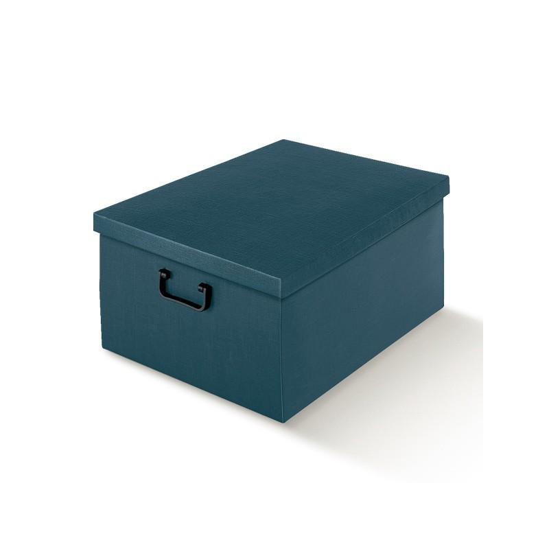 Scatola in Cartone Juta Blu con Coperchio e Manici in Plastica