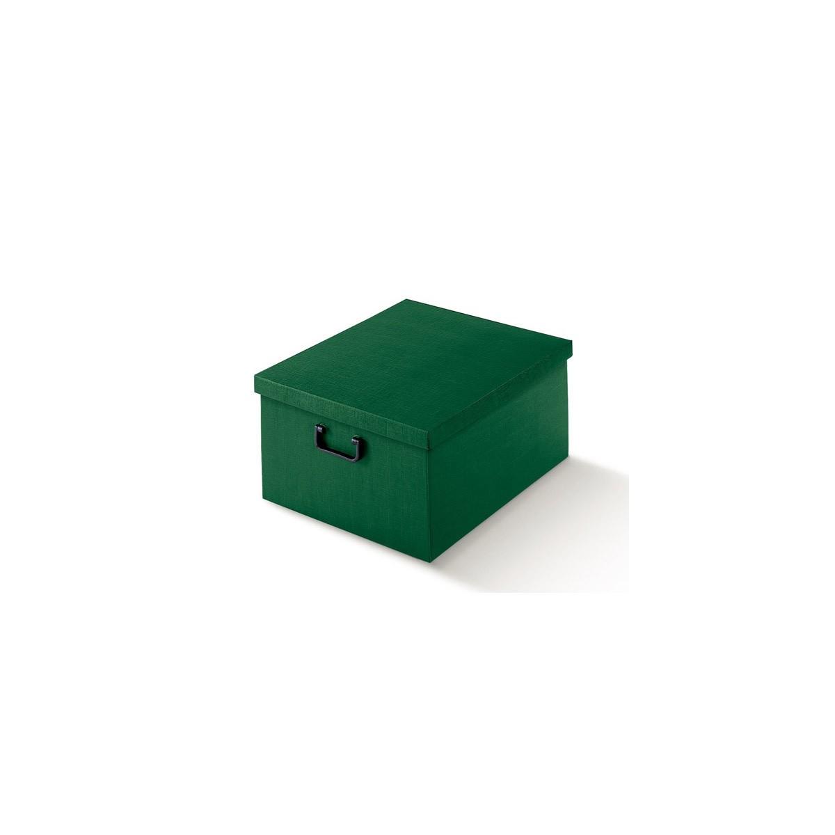 Scatola in Cartone Seta Verde con Coperchio e Manici in Plastica