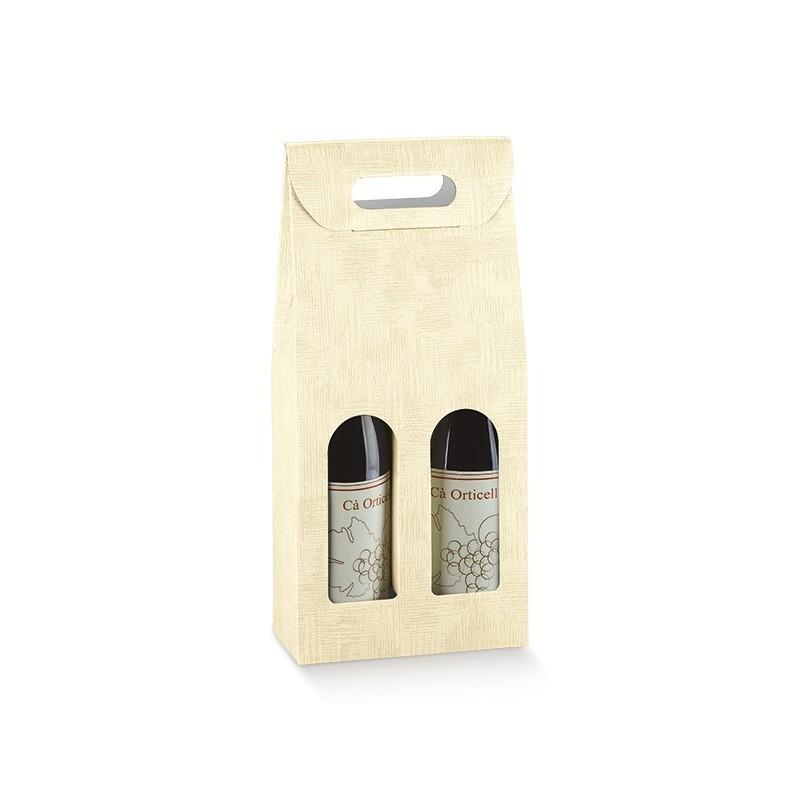 Scatola per 2 Bottiglie in Cartoncino Con Finestra Mm.180x90x385