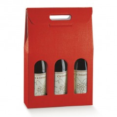 Scatola per 3 Bottiglie in Cartoncino Con Finestra Mm.270x90x385