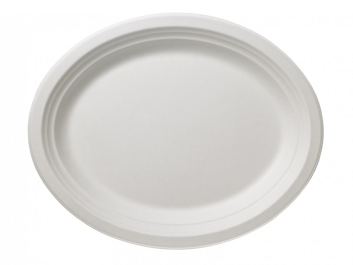 Piatti Ovale in Polpa di Cellulosa bianca