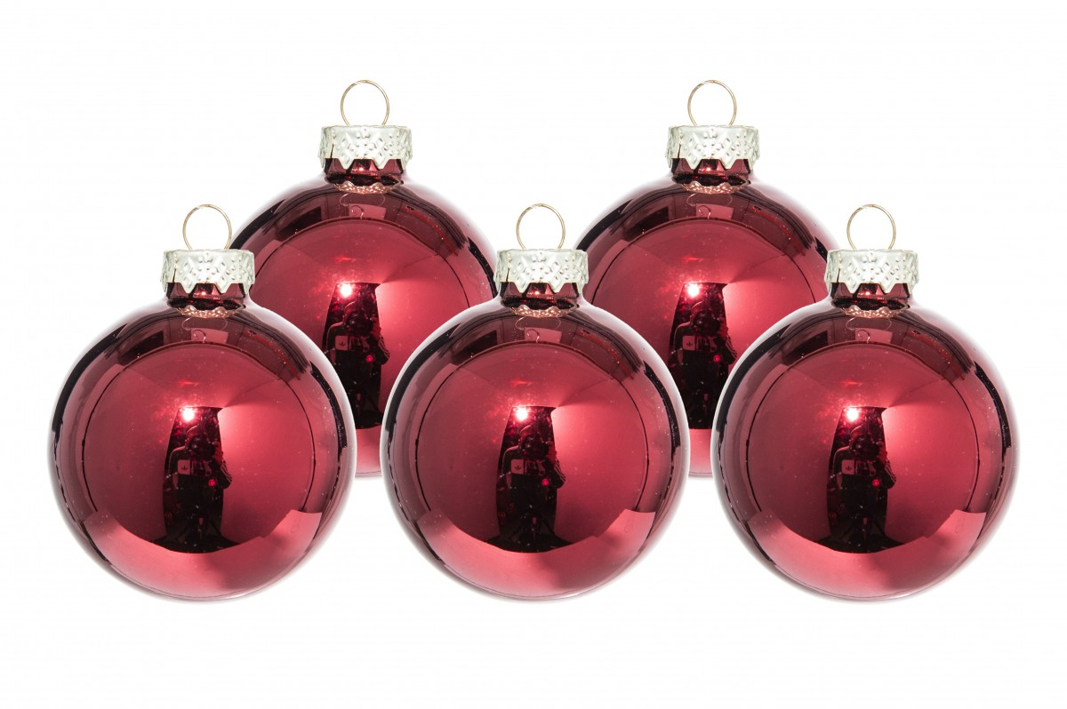 Palline Natale in vetro mm 60 pz.36  Rosa salmone