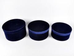 Set 3 Scatole Rotonde in Velluto blu