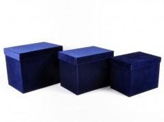 Set 3 Scatole Rettangolari in Velluto blu