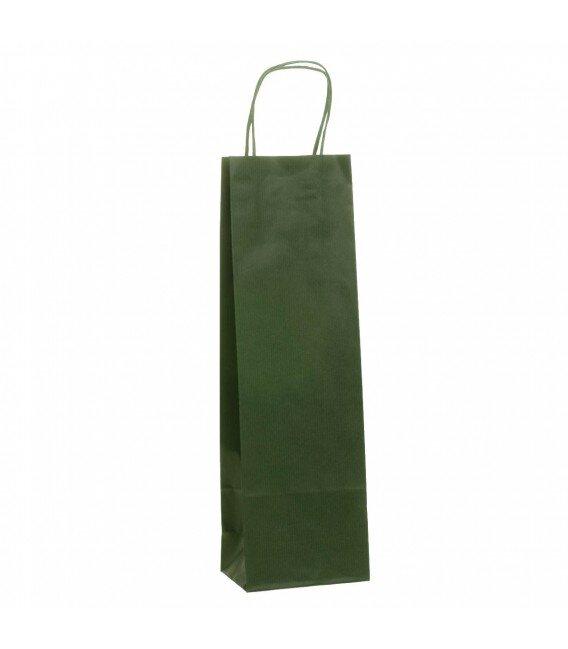 Shopper 1 Bottiglia Carta Colorata Maniglia Cordino Cm. 12+8x39 Confezione 25 Pezzi