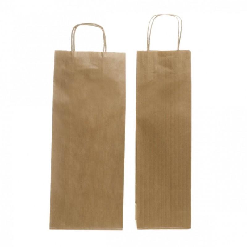 Shopper 1 Bottiglia Carta Sealing Avana Maniglia Cordino Confezione 25 Pezzi